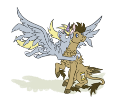 Size: 2100x1800 | Tagged: safe, artist:moonrisethemage, derpy hooves, doctor whooves, time turner, alicorn, earth pony, pegasus, pony, :p, alicornified, alternate design, cloven hooves, derpicorn, doctorderpy, duo, fake horn, female, fluffy, headcanon, hug, leonine tail, long description, male, mare, race swap, raised hoof, shadow, shipping, shoulder feathers, simple background, sitting, smiling, spread wings, stallion, straight, tail feathers, tattered, tattered wings, tongue out, unshorn fetlocks, white background, wings