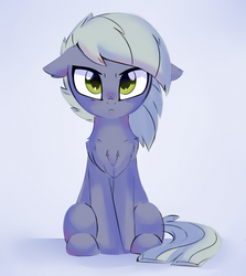 Size: 1119x1252 | Tagged: :<, angry, annoyed, artist:aureai, chest fluff, cute, ear fluff, earth pony, female, floppy ears, fluffy, frown, glare, limabetes, limestone pie, looking at you, mare, pony, safe, simple background, sitting, solo, stare, white background