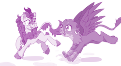 Size: 2835x1548 | Tagged: safe, artist:dstears, autumn blaze, gabby, griffon, kirin, sounds of silence, awwtumn blaze, cloven hooves, cute, duo, duo female, excited, eye contact, female, gabbybetes, happy, it begins, jumping, kirinbetes, leaping, leg fluff, looking at each other, looking back, monochrome, open mouth, puddle, raised hoof, raised leg, running, simple background, smiling, splashing, spread wings, unshorn fetlocks, white background, wings