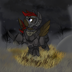 Size: 1000x1000 | Tagged: armor, artist:devorierdeos, cloud, cloudy, dashite, dead tree, enclave armor, fallout equestria, fanfic, fanfic art, grass, hooves, male, night, oc, oc:lengard, oc only, pegasus, pony, power armor, raised hoof, safe, solo, spread wings, stallion, stars, tree, wings