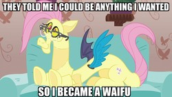 Size: 1280x720 | Tagged: safe, edit, edited screencap, screencap, discord, draconequus, discordant harmony, caption, clothes, costume, couch, disguise, fluttershy suit, glasses, happy, image macro, impact font, male, meme, shitposting, solo, text, they told me, waifu, weird fetish