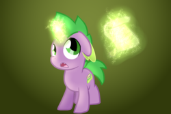 Size: 1800x1200 | Tagged: safe, artist:andromedasparkz, spike, pony, unicorn, colt, magic, magic aura, male, open mouth, ponified, ponified spike, scroll, solo, species swap, thinking