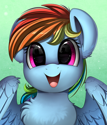 Size: 1722x2003 | Tagged: safe, artist:pridark, rainbow dash, pegasus, pony, bust, chest fluff, cute, dashabetes, dilated pupils, ear fluff, eye reflection, female, fluffy, gradient background, green background, happy, hnnng, implied fluttershy, looking at you, mare, open mouth, portrait, reflection, silhouette, simple background, smiling, solo, spread wings, weapons-grade cute, wing fluff, wings