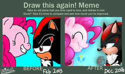 Size: 784x463 | Tagged: artist:drimull, comparison, crossover, draw this again, meme, pinkie pie, redraw, safe, shadow the hedgehog, sonic the hedgehog (series)