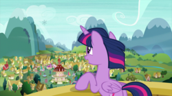 Size: 2880x1618   Tagged: safe, screencap, twilight sparkle, alicorn, pony, the crystalling, female, fluttershy's cottage, mare, mountain, plot, ponyville, ponyville schoolhouse, ponyville town hall, scenery, smiling, snowflake envelope, solo, town hall, twilight sparkle (alicorn)