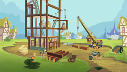 Size: 3200x1800   Tagged: safe, screencap, crafty crate, jack hammer, rivet, steam roller (character), pony, the mysterious mare do well, construction, ponyville, upscaled