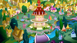 Size: 3200x1800 | Tagged: safe, pony, it ain't easy being breezies, season 4, joke shop, ponyville, ponyville town hall, river, scenery, town, town hall, upscaled