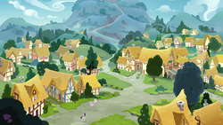 Size: 3840x2160 | Tagged: background, background pony, female, filly, galloping, male, mare, pegasus, pony, ponyville, road, safe, scenery, screencap, stallion, sweetie belle, the maud couple, unicorn, village, written script