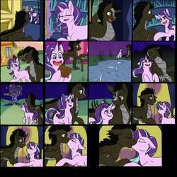 Size: 1500x1500 | Tagged: safe, artist:longshotswiftshadow, starlight glimmer, oc, oc:draco k-night blaze, dracony, hybrid, pony, unicorn, canon x oc, comic, date, female, food, kissing, love, male, mare, missing cutie mark, night, ponysona, pretzel, shipping, starlaco, straight, twilight's castle
