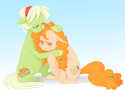 Size: 5380x4048 | Tagged: absurd res, artist:jellynut, comforting, crying, duo, earth pony, female, granny smith, hug, mare, pear butter, pony, safe, signature, simple background, sitting, the perfect pear, younger, young granny smith