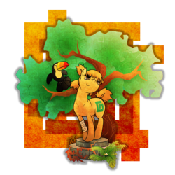 Size: 2280x2280   Tagged: safe, artist:14dreamer, oc, oc only, oc:safari, bird, earth pony, pony, toucan, bandage, platform, tree