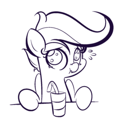 Size: 1000x1000 | Tagged: safe, artist:turtlefarminguy, scootaloo, pegasus, pony, bendy straw, black and white, concerned, drink, drinking straw, female, filly, grayscale, monochrome, scrunchy face, sketch, solo