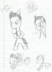 Size: 1428x1980   Tagged: safe, artist:eeveelutionlova, earth pony, pegasus, pony, boxing, doc louis, lined paper, little mac (punch out), nintendo, ponified, punch out, sports, traditional art