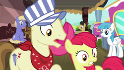 Size: 1280x720 | Tagged: safe, screencap, apple bloom, daisy, flower wishes, lightning bolt, steamer, thorn (character), white lightning, pony, surf and/or turf