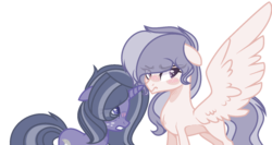 Size: 1588x844 | Tagged: safe, artist:browniepawyt, oc, oc only, oc:crystal amour, oc:moondust, pegasus, pony, unicorn, female, mare, offspring, parent:princess flurry heart, parent:star tracker, parent:twilight sparkle, parents:twitracker, simple background, transparent background