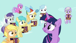 Size: 1280x720 | Tagged: safe, screencap, cotton cloudy, mango dash, noi, pinkie feather, rainy feather, sweet pop, tornado bolt, twilight sparkle, alicorn, pegasus, pony, fame and misfortune, animation error, book, clothes, female, filly, flying, foal, grin, hat, hoof hold, mare, shirt, smiling, t-shirt, twilight sparkle (alicorn)