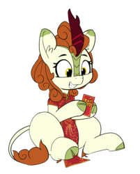 Size: 1601x1987 | Tagged: safe, artist:pabbley, autumn blaze, kirin, sounds of silence, awwtumn blaze, cheongsam, chinese new year, clothes, cloven hooves, colored hooves, cute, dress, female, hoof hold, red envelope, simple background, smiling, solo, transparent background