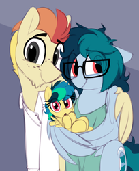 Size: 1079x1325 | Tagged: safe, artist:shinodage, oc, oc only, oc:apogee, oc:delta vee, oc:jet stream, pegasus, pony, :o, :t, all downhill from here, baby, baby pony, clothes, cute, daaaaaaaaaaaw, diageetes, diaveetes, eye clipping through hair, family, father and daughter, female, floppy ears, foal, freckles, glasses, gray background, hug, looking at you, male, mare, mother and daughter, ocbetes, open mouth, shinodage is trying to murder us, shipping, shirt, simple background, sitting, smiling, stallion, straight, wholesome, wing hands, winghug, younger
