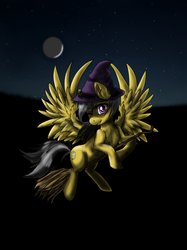 Size: 599x800 | Tagged: artist:cosmic-kouhai, broom, daring do, flying, flying broomstick, hat, moon, night, pegasus, pony, safe, witch, witch hat