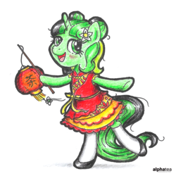 Size: 2476x2476 | Tagged: safe, artist:alphatea, oc, oc:camellia yasmina, pony, unicorn, bangs, bipedal, blushing, bun hairstyle, cheongsam, chinese new year, chinese new year 2019, clothes, cute, dress, female, flower, lamp, lantern, looking at you, mare, open mouth, ribbon, shadow, shoes, simple background, socks, solo, standing, stick, tail, traditional art, white background, white socks