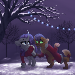 Size: 1500x1500 | Tagged: abyssinian, artist:kittyx-galaxy, capper dapperpaws, capperity, clothes, curved horn, ear fluff, female, horn, lidded eyes, looking at each other, male, night, open mouth, pony, rarity, safe, shipping, snow, straight, string lights, unicorn, winter