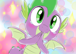 Size: 1414x1000 | Tagged: safe, artist:emositecc, spike, dragon, molt down, abstract background, c:, crying, cute, male, smiling, solo, spikabetes, tears of joy, winged spike
