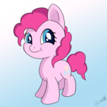 Size: 1000x1000 | Tagged: safe, artist:theunconsistentone, pinkie pie, chibi, cute, diapinkes, puffy cheeks, smiley face, solo