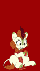 Size: 1080x1920 | Tagged: safe, artist:pabbley, edit, autumn blaze, kirin, sounds of silence, awwtumn blaze, chinese new year, clothes, cute, dress, female, hoof hold, phone wallpaper, red background, red envelope, simple background, smiling, solo, transparent background, wallpaper