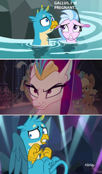Size: 748x1268   Tagged: safe, edit, edited screencap, screencap, applejack, gallus, pinkie pie, princess skystar, queen novo, rainbow dash, silverstream, spike, classical hippogriff, earth pony, griffon, hippogriff, puffer fish, seapony (g4), my little pony: the movie, what lies beneath, angry, angry aunt, aunt, comic, discovery family logo, female, gallstream, interspecies, male, mama bear, pregnant, screencap comic, seaponified, seapony applejack, seapony pinkie pie, seapony rainbow dash, shipping, species swap, spike the pufferfish, straight, this will not end well