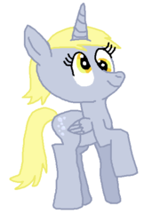 Size: 408x568 | Tagged: alicorn, alicornified, artist:nightshadowmlp, derpicorn, derpy hooves, pony, race swap, raised hoof, safe, simple background, smiling, solo, white background