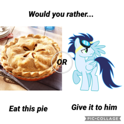 Size: 1800x1800 | Tagged: apple, apple pie, artist:cozmo312bb, food, pie, safe, soarin', would you rather