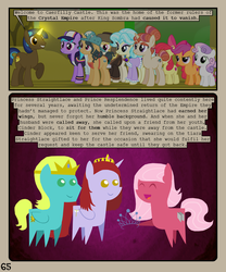Size: 900x1080 | Tagged: safe, artist:lister-of-smeg, amethyst gleam, ammie thyst, apple bloom, azure velour, fresh coat, march gustysnows, moondancer's sister, morning roast, scootaloo, sweetie belle, oc, oc:cinder block, oc:resplandence, oc:straightlace, oc:trailblazer (lister-of-smeg), alicorn, earth pony, pegasus, pony, unicorn, comic:horkosworks, cutie mark crusaders, female, jewelry, magic, male, mare, pointy ponies, stallion, tiara