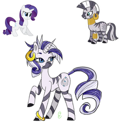 Size: 540x540 | Tagged: artist:ask-cheri, commissioner:bigonionbean, fusion, hybrid, pony, rarity, safe, zecora