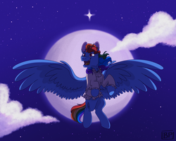 Size: 2500x2000 | Tagged: safe, artist:glitterstar2000, rainbow dash, pegasus, pony, clothes, female, flying, mare, rainbow dantes, smiling, solo, the count of monte cristo, the man i used to be