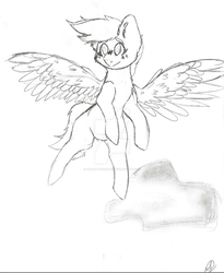 Size: 1024x1249 | Tagged: artist:diane-thorough, female, flying, happy, oc, pony, safe, sketch, solo, wings