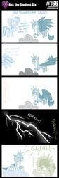 Size: 800x2386 | Tagged: safe, artist:sintakhra, gallus, rainbow dash, sandbar, earth pony, griffon, pony, tumblr:studentsix, cloud, female, flying, implied smolder, lightning, male, prank