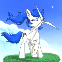 Size: 500x500 | Tagged: artist:walris, blushing, electrical hazard icon, eyeshadow, i can't believe it's not badumsquish, makeup, moon, not salmon, object pony, oc, original species, ponified, pony, propeller, safe, wat, what has science done, wind, wind turbine generator