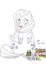 Size: 2477x3500 | Tagged: safe, artist:gafelpoez, fluttershy, pony, addiction, chocolate, cofler, eric clapton, fel fort, ferrero rocher, food, kinder egg, mantecol, marroc, toy