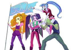 Size: 2222x1554 | Tagged: safe, artist:paradoxbroken, adagio dazzle, aria blaze, sonata dusk, oc, oc:anon, equestria girls, rainbow rocks, baseball bat, belt, boots, breasts, clothes, cute, cutie mark on clothes, delicious flat chest, denim, ear piercing, earring, eyelashes, eyeshadow, female, fingerless gloves, flag, flatdagio dazzle, gloves, hair tie, headband, hunched over, jeans, jewelry, kneesocks, leggings, legs, lidded eyes, long socks, looking sideways, low angle, makeup, male, midriff, miniskirt, open mouth, pants, piercing, pigtails, pointing, ponytail, poofy shoulders, pouting, rolled up sleeves, shirt, shoes, shoulder ride, simple background, sitting on person, skirt, small breasts, smiling, socks, sonatabetes, spiked headband, spiked wristband, standing, the dazzlings, tight clothing, tights, twintails, white background, wip, wristband