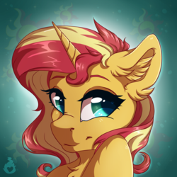 Size: 1500x1500 | Tagged: safe, artist:serenity, sunset shimmer, pony, unicorn, bust, cute, ear fluff, female, floppy ears, horn, looking at you, mare, smiling, solo