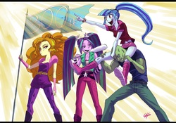 Size: 2059x1440 | Tagged: safe, artist:paradoxbroken, adagio dazzle, aria blaze, sonata dusk, oc, oc:anon, equestria girls, rainbow rocks, belt, boots, clothes, crepuscular rays, cutie mark on clothes, denim, ear piercing, earring, eyelashes, eyeshadow, female, fingerless gloves, flag, gloves, hair tie, headband, jeans, jewelry, kneesocks, leggings, legs, lidded eyes, long socks, looking sideways, makeup, male, midriff, miniskirt, open mouth, pants, piercing, pigtails, pointing, ponytail, poofy shoulders, pouting, rolled up sleeves, shirt, shoes, simple background, sitting on person, skirt, skirt lift, smiling, socks, spiked wristband, standing, the dazzlings, tight clothing, twintails, wristband