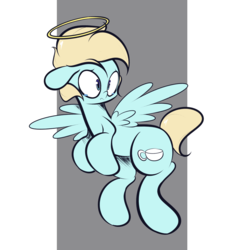 Size: 1280x1280 | Tagged: safe, artist:turtlefarminguy, oc, oc only, unnamed oc, pegasus, pony, blue coat, crying, flying, frown, halo, simple background, solo, spread wings, transparent background, wings