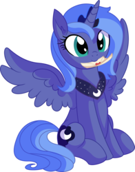 Size: 5847x7451 | Tagged: safe, artist:cyanlightning, princess luna, alicorn, pony, .svg available, absurd resolution, c:, cute, ear fluff, featured image, female, hearts and hooves day, hnnng, holiday, letter, looking at you, love letter, lunabetes, mare, missing accessory, mouth hold, nom, peytral, s1 luna, simple background, sitting, smiling, solo, spread wings, sweet dreams fuel, transparent background, valentine's day, vector, weapons-grade cute, wings