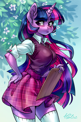 Size: 1378x2067 | Tagged: safe, artist:holivi, twilight sparkle, unicorn, anthro, :3, :<, adorasexy, adorkable, anime style, beautiful, big breasts, blouse, blurred background, blushing, breasts, busty twilight sparkle, clipboard, clothes, curvy, cute, cutie mark on clothes, dork, ear fluff, eyelashes, female, flower, hand on hip, horn, long hair, long nails, looking at you, mare, miniskirt, moe, nails, plaid skirt, pose, rolled up sleeves, school uniform, schoolgirl, sexy, shirt, signature, skirt, smiling, socks, solo, standing, stockings, sweater vest, thigh highs, thighs, tight clothing, twiabetes, unicorn twilight, unmoving plaid, zettai ryouiki
