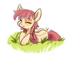 Size: 2440x1952   Tagged: safe, artist:sugarstar, oc, oc only, earth pony, pony, eyes closed, female, grass, lying, mare, simple background, sketch, smiling, solo