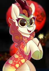 Size: 1772x2598 | Tagged: safe, artist:php97, autumn blaze, kirin, awwtumn blaze, bipedal, blood moon, cheongsam, chinese new year, clothes, cute, female, looking at you, moon, smiling, solo, sparkler (firework)