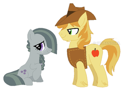 Size: 490x358 | Tagged: alternate hairstyle, artist:grubandgaming16th, braeble, braeburn, braeburn's hat, chin fluff, clothes, cropped, cutie mark, edit, female, freckles, leg fluff, male, marble pie, safe, shipping, sitting, standing, straight, vest, watermark