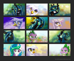Size: 1040x860 | Tagged: alicorn, artist:kp-shadowsquirrel, changeling, changeling queen, dragon, female, gilda, griffon, mare, pony, princess celestia, queen chrysalis, safe, spike, wallpaper pack, .zip file at source