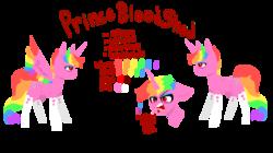 Size: 2640x1480   Tagged: safe, artist:nootaz, oc, oc:prince bloodshed, alicorn, pony, alicorn oc, bags under eyes, donut steel, eyeshadow, makeup, rainbow hair, reference sheet, simple background, slit eyes, transparent background
