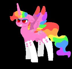 Size: 980x940   Tagged: safe, artist:nootaz, oc, oc:prince bloodshed, alicorn, pony, alicorn oc, rainbow hair, simple background, slit eyes, transparent background